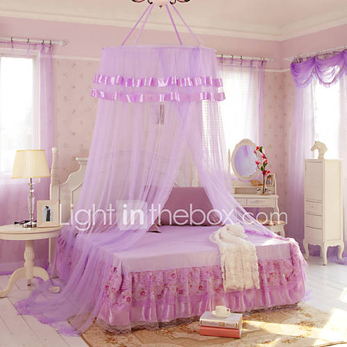 Mosquito Net Bed Canopy Curtain Round Lace Ruffle Hung