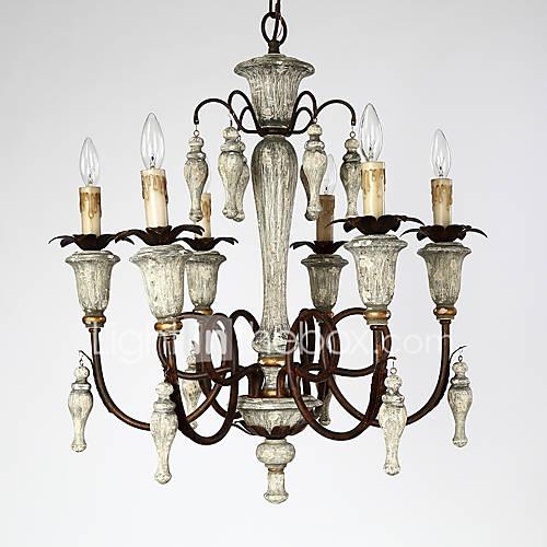 Wood Foyer Chandelier : Traditonal retro industrial wooden pendant lamp decorate