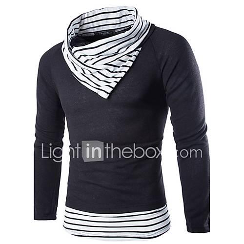 heren-casual-dagelijks-eenvoudig-normaal-pullover-kleurenblok-wit-beige-coltrui-lange-mouw-wol-herfst-winter-medium-micro-elastisch
