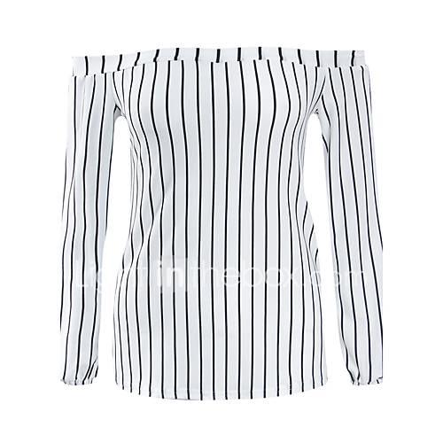vrouwen-eenvoudig-street-chic-lente-herfst-t-shirt-casual-dagelijks-gestreept-boothals-lange-mouw-wit-polyester-medium