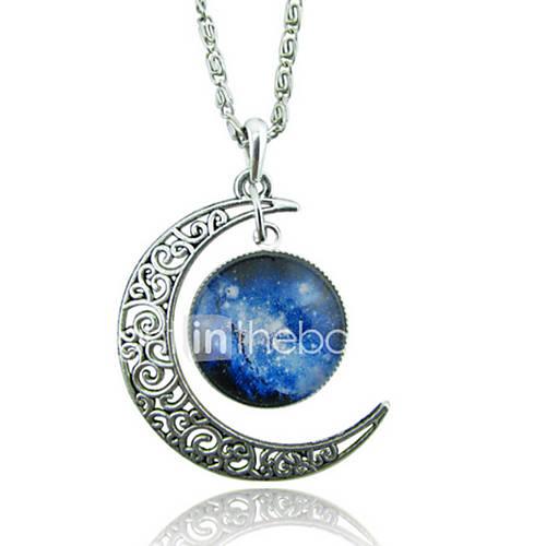 Women's Pendant Necklaces Moon Gemstone Glass Alloy Unique Design Fashion Galaxy European Red/Blue Red/White White/Blue Blue Purple/Blue