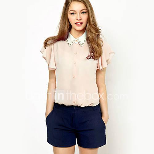 vrouwen-sexy-zomer-blouse-casual-dagelijks-effen-overhemdkraag-korte-mouw-blauw-roze-wit-katoen-polyester-ondoorzichtig