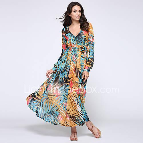 ronde-hals-v-hals-polyester-bloem-maxi-vrouwen-jurk-lange-mouw
