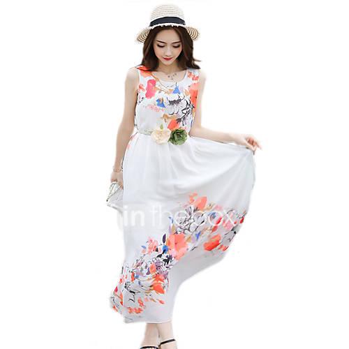 vrouwen-strand-uitgaan-casual-dagelijks-boho-a-lijn-chiffon-jurk-print-ronde-hals-maxi-mouwloos-wit-katoen-polyester-zomer