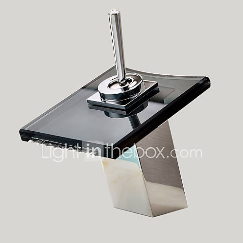 Contemporary Centerset Waterfall With Ceramic Valve Single Handle One Hole For Chrome Bathroom