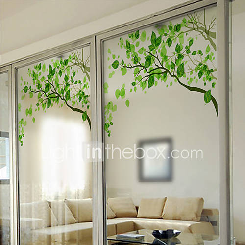 Window film window decals style fresh green branches matte for Stickers pour fenetre
