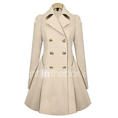 dames-eenvoudig-street-chic-herfst-winter-trenchcoat-werk-casual-dagelijks-ingesneden-revers-lange-mouw-blauw-beige-effen-medium