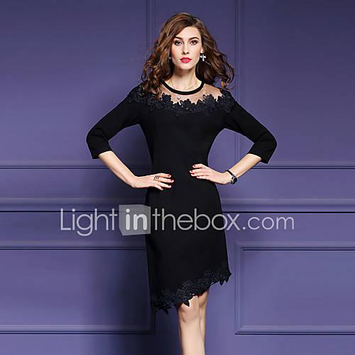 dames-uitgaan-street-chic-bodycon-jurk-effen-geborduurd-ronde-hals-asymmetrisch-driekwart-mouw-zwart-polyester-herfst-medium-taille
