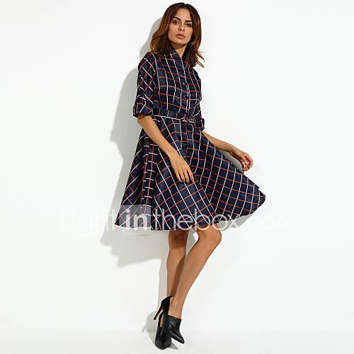 Vrouwen Eenvoudig Schede Blokken Jurk-Tot de knie V-hals Polyester