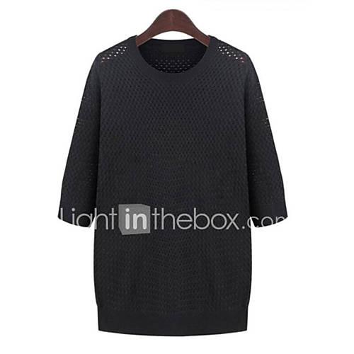 Dames Casual/Dagelijks / Grote maten Eenvoudig Normaal Pullover Effen-Wit / Zwart Ronde hals Driekwart mouw Polyester Herfst Medium