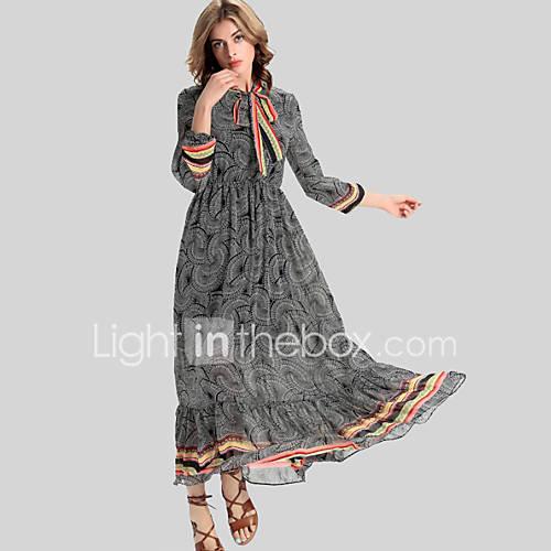 vrouwen-vakantie-vintage-wijd-uitlopend-jurk-print-opstaand-maxi-driekwart-mouw-grijs-polyester-herfst-winter