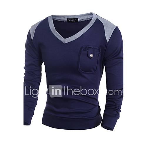 heren-casual-dagelijks-eenvoudig-normaal-pullover-kleurenblok-blauw-grijs-v-hals-lange-mouw-wol-lente-herfst-medium-micro-elastisch