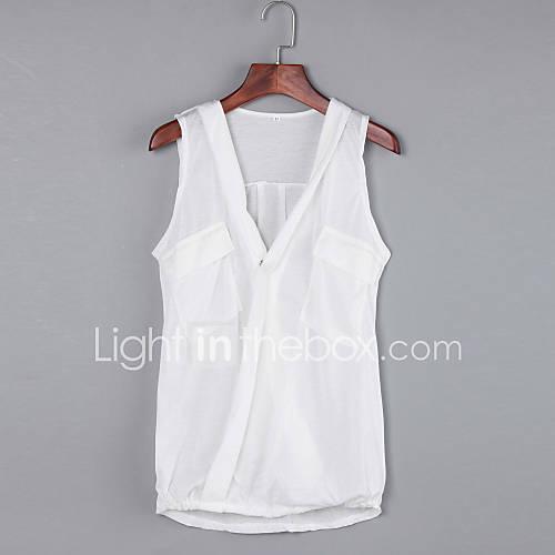 vrouwen-sexy-eenvoudig-zomer-t-shirt-casual-dagelijks-effen-diepe-v-hals-mouwloos-wit-zwart-grijs-polyester-medium