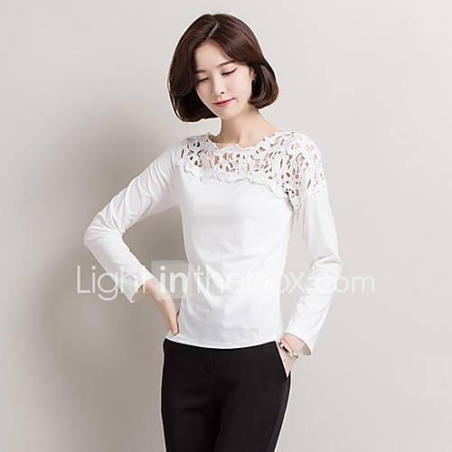 vrouwen-street-chic-lente-herfst-t-shirt-casual-dagelijks-effen-ronde-hals-lange-mouw-rood-beige-zwart-geel-katoen-medium
