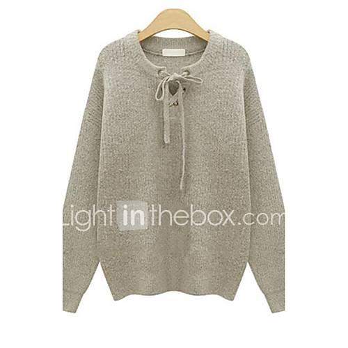 dames-casual-dagelijks-grote-maten-eenvoudig-normaal-pullover-effen-grijs-assymmetrisch-lange-mouw-polyester-herfst-medium-micro-elastisch