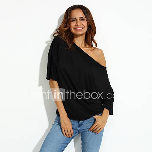 vrouwen-eenvoudig-zomer-t-shirt-casual-dagelijks-effen-boothals-korte-mouw-roze-wit-zwart-polyester-medium
