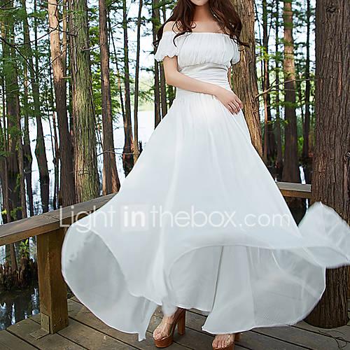 dames-casual-dagelijks-eenvoudig-schede-jurk-effen-boothals-maxi-korte-mouw-wit-katoen-herfst-hoge-taille-inelastisch