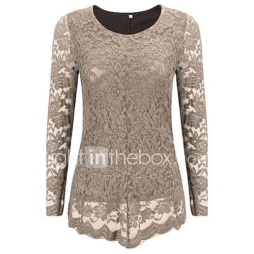 vrouwen-vintage-lente-herfst-blouse-casual-dagelijks-grote-maten-effen-ronde-hals-lange-mouw-blauw-zwart-grijs-overige-medium