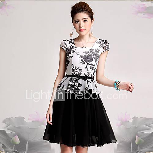 vrouwen-werk-grote-maten-verfijnd-schede-jurk-print-vierkante-hals-tot-de-knie-korte-mouw-zwart-katoen-rayon-herfst