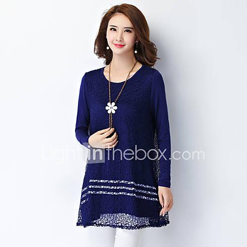 vrouwen-eenvoudig-herfst-t-shirt-casual-dagelijks-grote-maten-patchwork-ronde-hals-lange-mouw-blauw-wit-zwart-rayon-polyester
