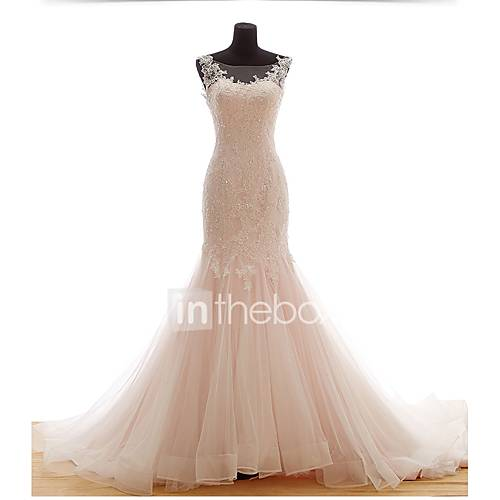 Trumpet mermaid wedding dress court train scoop tulle for In the light box wedding dresses