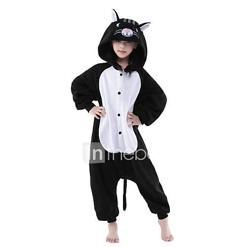 Kigurumi Pajamas Cat Onesie Pajamas Costume Polar Fleece Black / White Cosplay For Kid's Animal Sleepwear Cartoon Halloween Festival /