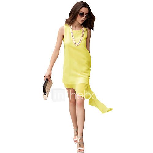 strakke-ronde-hals-chiffon-polyester-midi-vrouwen-jurk-mouwloos