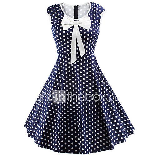 vrouwen-casual-dagelijks-schattig-street-chic-a-lijn-jurk-polka-dot-ronde-hals-tot-de-knie-mouwloos-blauw-rood-polyester-spandex