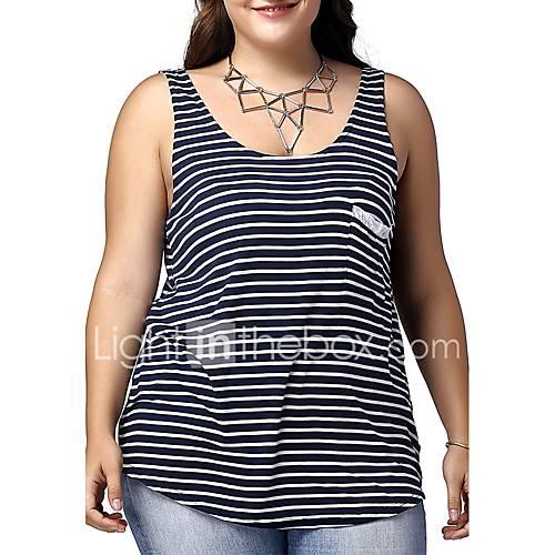 vrouwen-street-chic-actief-zomer-t-shirt-casual-dagelijks-gestreept-diepe-u-hals-mouwloos-blauw-katoen-dun