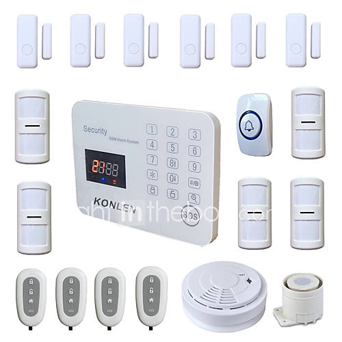 Wireless Burglar GSM Alarm Systems Security Home Safety Voice LCD SMS Alert Android App with Doorbell Smoke Detector
