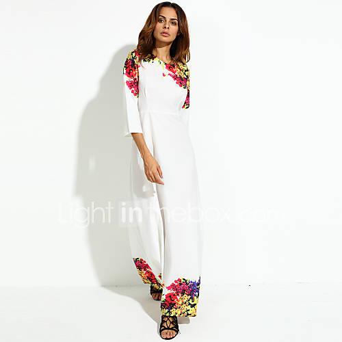 dames-vakantie-feestjecocktail-eenvoudig-wijd-uitlopend-jurk-bloemen-ronde-hals-maxi-driekwart-mouw-wit-polyester-herfst-medium-taille