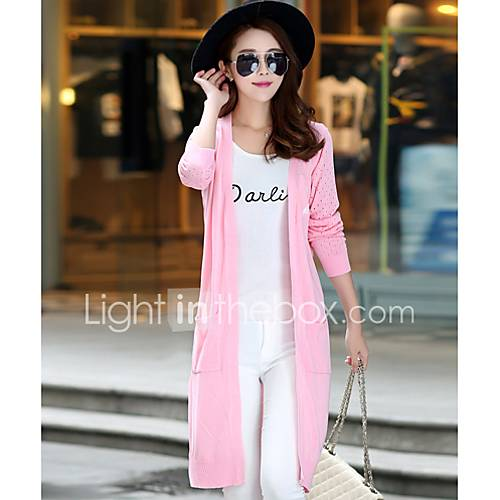 Dames Casual/Dagelijks Eenvoudig Lang Vest Print-Blauw / Roze / Wit / Zwart V-hals Lange mouw Rayon Herfst Medium