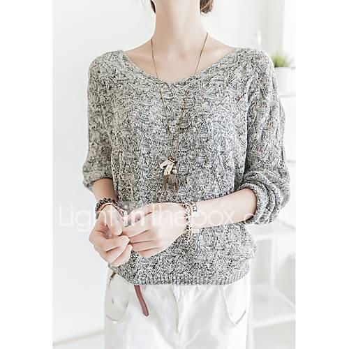 dames-casual-dagelijks-eenvoudig-schattig-normaal-pullover-effen-grijs-v-hals-lange-mouw-katoen-lente-herfst-medium-micro-elastisch