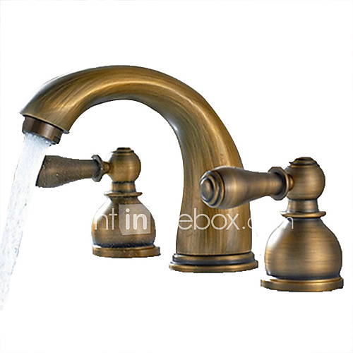Brass Bathroom Faucets Widespread : Antique Brass Finish Widespread Bathroom Sink Faucet 3205826 2016 ...