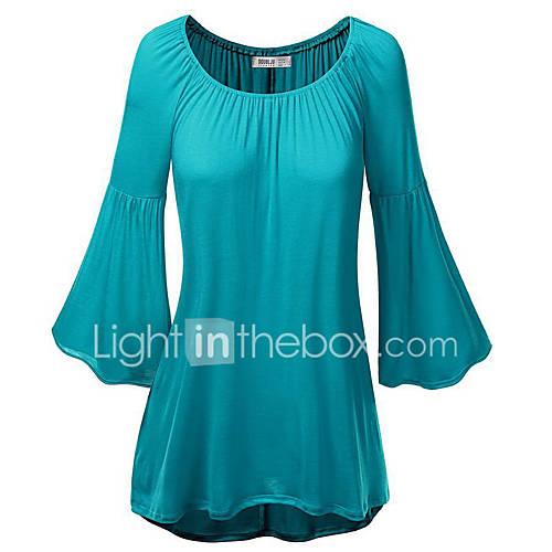vrouwen-vintage-eenvoudig-alle-seizoenen-t-shirt-casual-dagelijks-effen-ronde-hals-driekwart-mouw-blauw-roze-rood-oranje-polyester