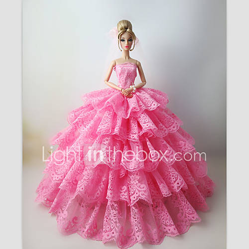 Wedding dresses for barbie doll pink lace dresses for girl for Barbie wedding dresses for sale