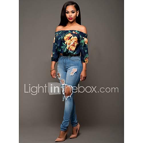 vrouwen-eenvoudig-zomer-blouse-casual-dagelijks-bloemen-boothals-driekwart-mouw-blauw-wit-groen-katoen-polyester-spandex-dun
