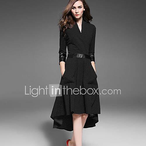 vrouwen-uitgaan-street-chic-wijd-uitlopend-jurk-polka-dot-diepe-v-hals-asymmetrisch-driekwart-mouw-zwart-polyester-herfst