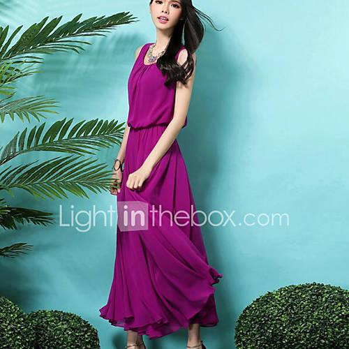 vrouwen-nette-schoenen-eenvoudig-wijd-uitlopend-jurk-effen-ronde-hals-maxi-mouwloos-paars-polyester-zomer