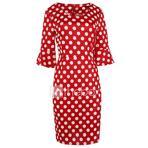 vrouwen-casual-dagelijks-eenvoudig-schattig-street-chic-schede-jurk-polka-dot-ronde-hals-tot-de-knie-driekwart-mouw-rood-wit-zwart