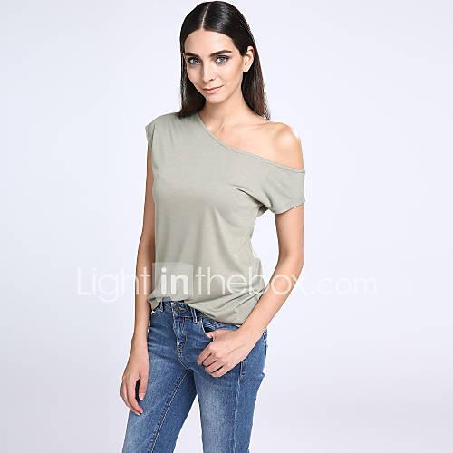 vrouwen-eenvoudig-street-chic-t-shirt-casual-dagelijks-effen-schouderafhangend-korte-mouw-wit-zwart-groen-polyester-dun