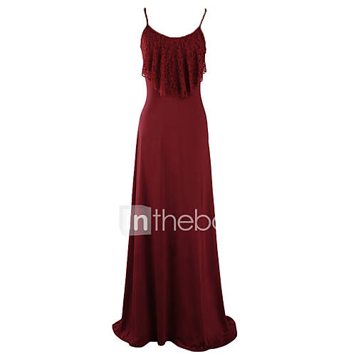 vrouwen-strand-feestjecocktail-club-sexy-wijd-uitlopend-jurk-effen-bandje-maxi-mouwloos-blauw-rood-zwart-acryl-polyester