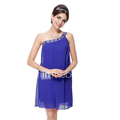 vrouwen-uitgaan-street-chic-ruimvallend-jurk-effen-een-schouder-boven-de-knie-mouwloos-blauw-roze-wit-zwart-grijs-groen-paars
