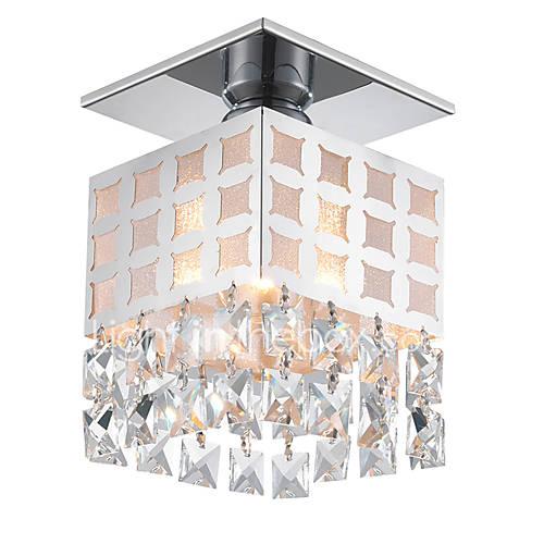 Modern crystal ceiling light stainless flush mount 1 lights living room hallway bedroom entry for Flush mount ceiling lights living room