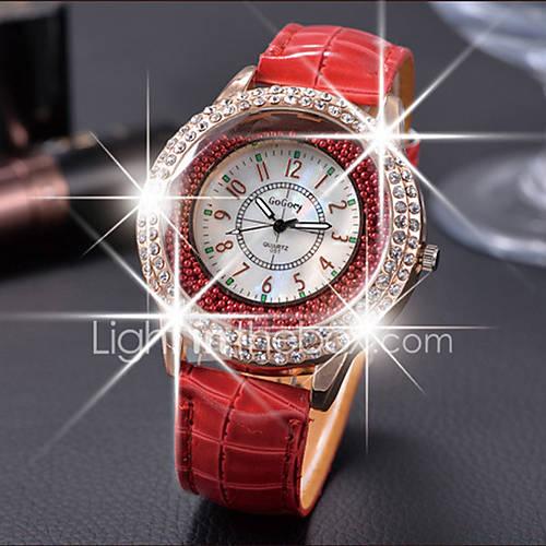 Mujer Reloj de Moda Cuarzo Piel Banda Negro / Blanco / Rojo / Marrón Marca- Lightinthebox