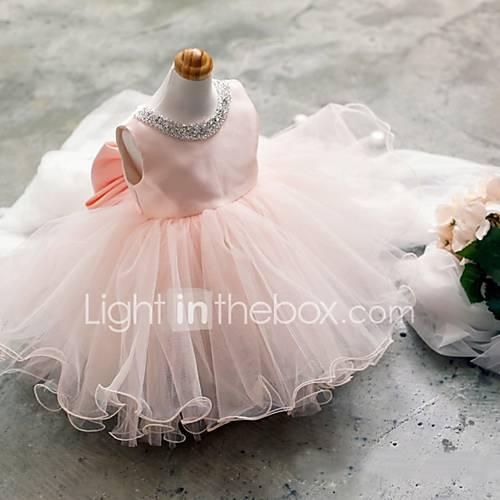 Salón Corta / Mini Vestido de Niña Florista - Tul Sin Mangas Joya con Cuentas / Lazo(s) Descuento en Lightinthebox