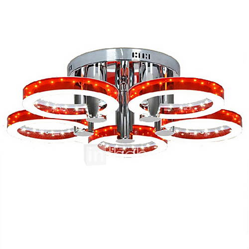 Red Acrylic Chandelier: 90W Modern LED Red Acrylic Chandelier With 5 Lights