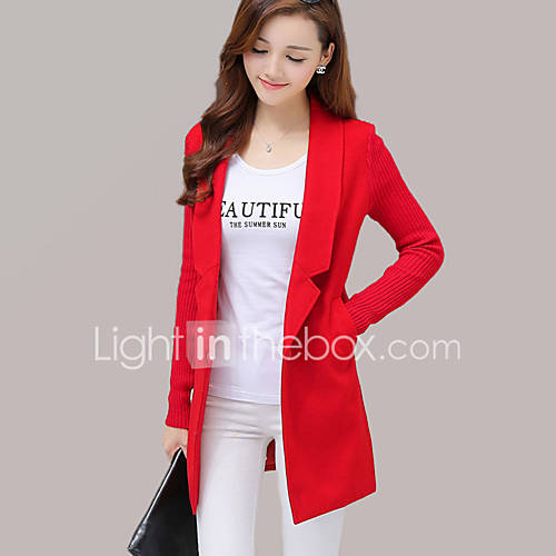 vrouwen-street-chic-herfst-winter-jas-uitgaan-ingesneden-revers-lange-mouw-rood-grijs-effen-medium-wol-katoen-polyester