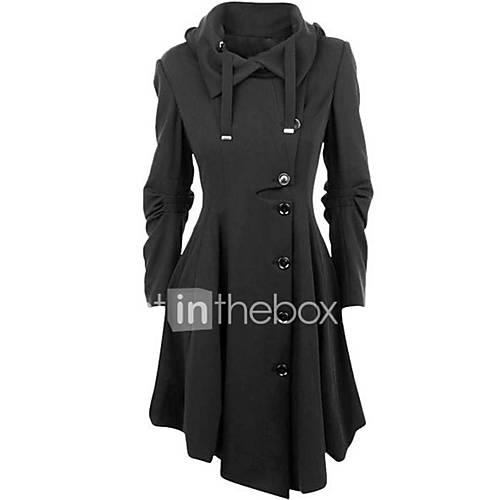 vrouwen-eenvoudig-street-chic-winter-jas-casual-dagelijks-overhemdkraag-lange-mouw-zwart-effen-medium-katoen