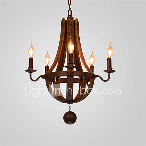 5 Heads Vintage Country Style Chandelier Metal+Wood Living